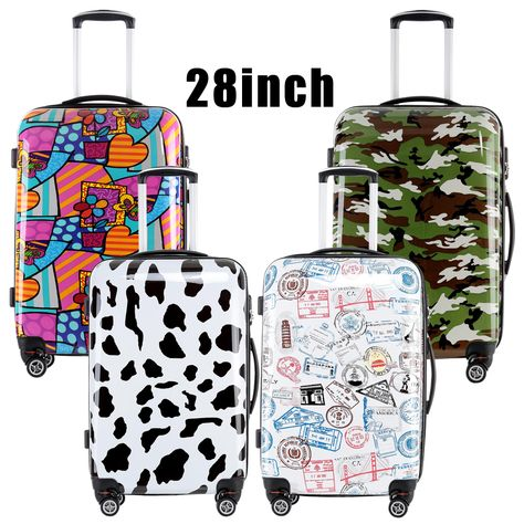 2016 Fochier Women Men Luggage Colorful 28 inches Hard Shell Rolling  Luggage Rolling Luggage 5 color New cow stamp camouflage 3b2d84aaf9