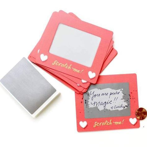 "Make someone's day with this set of 24 scratch-off lunchbox notes! Simply write your own special handwritten message in the designated area, cover it with the scratch-off sticker provided, and scratch to reveal your hidden message! These tiny notes are the perfect size to slip into a lunch bag or coat pocket of someone special. L 5"" x W 4"" x H 0.75"""