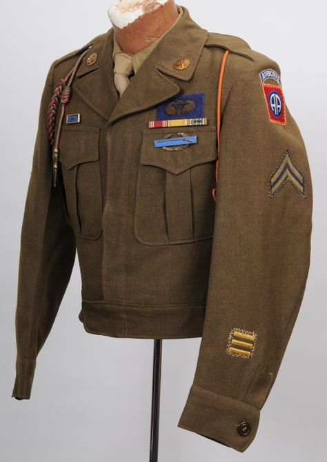 WWII US Army 82nd Airborne Division Corporal's Ike Jacket with fantastic oversize bullion Jump Wing.