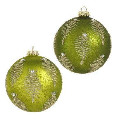 Raz Glittered Green Fern Ball Set Of 2 Christmas