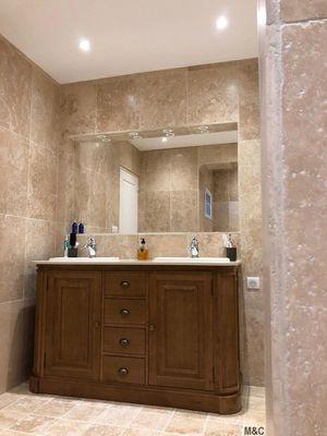 Meuble salle de bain bois massif gris | Meubles de Salle de ...