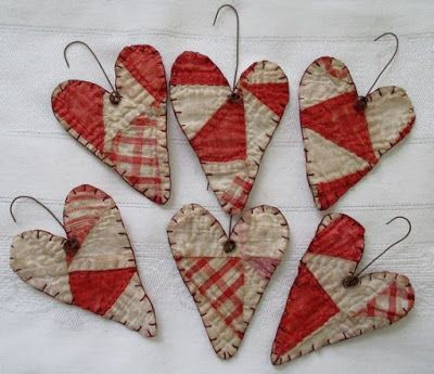 Primitive Antique Cutter Quilt Heart Ornaments Ornies Set of 6 Valentine Reds 1 in Antiques, Primitives Primitive Antiques, Primitive Crafts, Primitive Christmas, Handmade Christmas, Primitive Ornaments, Cowboy Christmas, Primitive Fall, Primitive Snowmen, Country Christmas