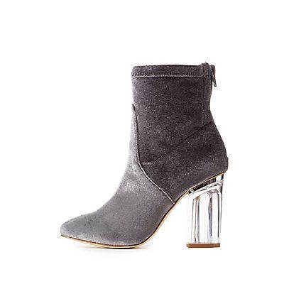 35d1d1e870d Velvet Clear Heel Ankle Booties | Products | Clear heels, Ankle ...
