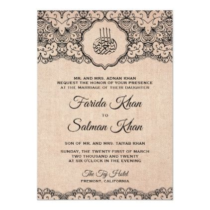 Vintage Black Lace Rustic Burlap Islamic Wedding Invitation Zazzle Com In 2021 Muslim Wedding Invitations Islamic Wedding Muslim Wedding Cards