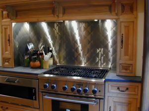 Quilted Stainless Steel Backsplash Kitchen