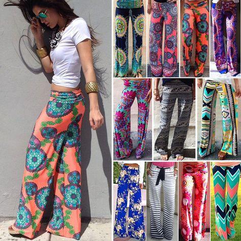 Women Harem Long Pants Hippie Wide Leg Gypsy Yoga Dance Boho Palazzo Trousers US
