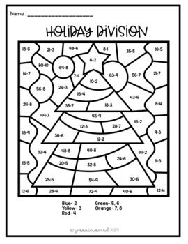 Christmas Color By Number Division Christmas Color By Number Christmas Division Christmas Colors