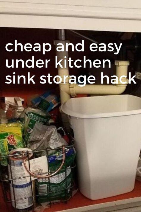 Quick kitchen sink storage idea on a budget. Simple yet genius kitchen organization hack for decluttering under sink. #kitchenstoragehack #kitchensinkorganization #quickkitchenstorageidea