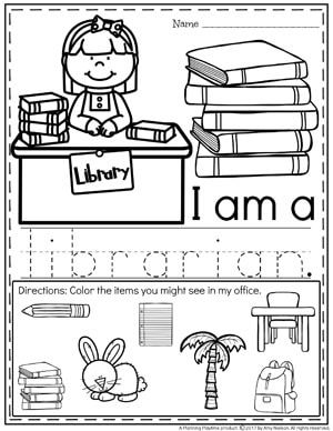 Community Helpers Worksheets - Librarian | Montessori/School ...