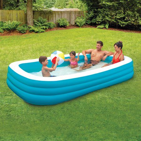 Play Day Rectangular Inflatable Family Pool 120 X 72 X 22 Walmart Com Family Lounge Pool Family Pool Family Inflatable Pool