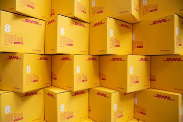 Sofia Bulgaria 17 October 2018 Yellow Dhl Express Packages Are Seen Arranged In A Warehouse Spon October Banana Breakfast Smoothie Sofia Expressions