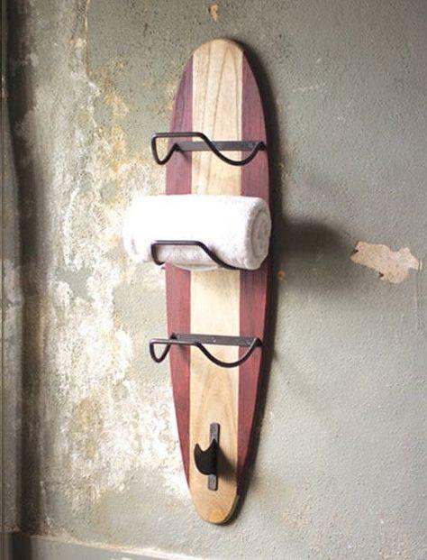 Surfers Beach Wooden Towel Rack