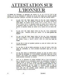 Exemples D Attestations Sur L Honneur Pour Soumission En Marches Publiques Attestation Marches Publics Soumission