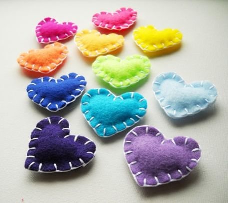 rainbow hearts - add a magnet or string