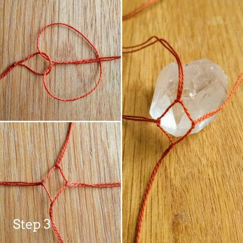 Easy Macrame Crystal Pendant, - Easy Macrame Crystal Pendant, Easy M - Diy Jewelry Rings, Diy Jewelry Unique, Diy Jewelry To Sell, Diy Jewelry Holder, Diy Jewelry Tutorials, Jewelry Crafts, Necklace Holder, Delicate Jewelry, Diy Jewelry Yarn