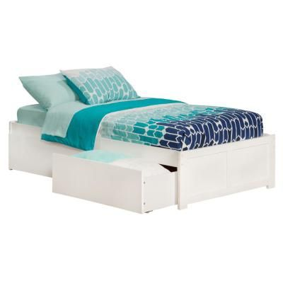 Atlantic Furniture Concord White Twin Xl Platform Bed With Flat