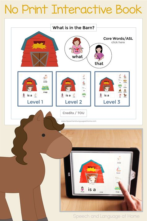 AAC Core Vocabulary Activities | No Print Speech Therapy | What is in the Barn