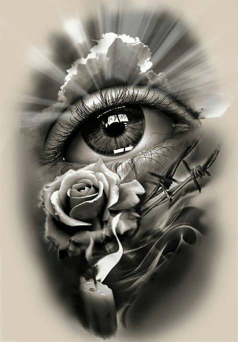 Tattoo Design Realistic Eye With Rose And Candle Eye Tattoo Sleeve Tattoos Eye Art