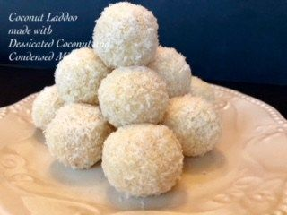 Coconut Laddoo Made With Desiccated Coconut And Condensed Milk Food Fitness Beauty And More Recipe Food Holi Recipes Eggless Desserts