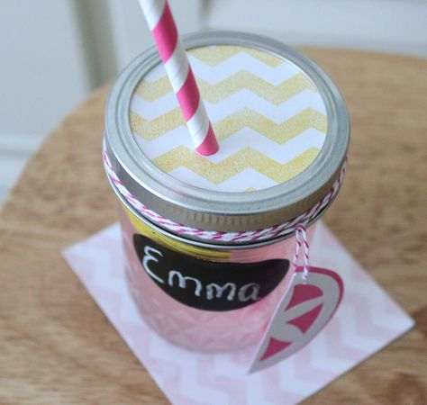 10 mason jar lids drink tumblers cups glasses table setting yellow chevron stripe kids birthday party