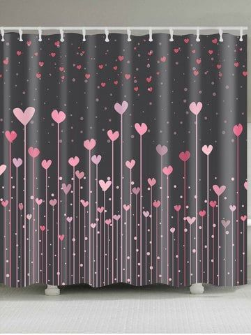 Hearts Printed Waterproof Valentine S Day Shower Curtain Pink