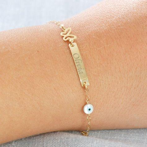 Gold Baby Bracelet - Engraved Bar ID Newborn Jewelry - Personalized Bracelet - Christmas Gift GB