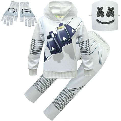 New DJ Marshmello Mask Costume Cosplay Kid/'s Music Festival Party Jumpsuit