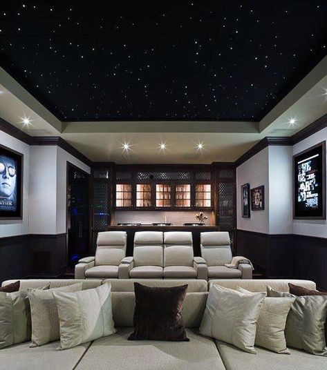 Incredible Home Theater Design Idea With Light Up Black Star Ceiling Small Home Theaters Home Theater Setup Home Theater Rooms