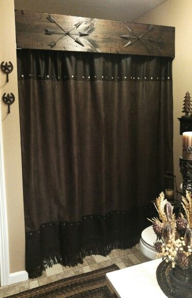 The Blakley House We Love A Rustic Western Look Shower Curtain Has Dark Brown Hues With Fringe At Bottom