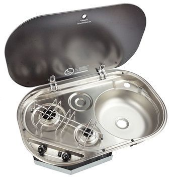 Dometic (SMEV) MO0911 Combination 2-Burner Propane Cooktop with Sink