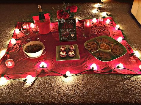 Romantic indoor picnic