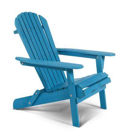 Delacora Bs Bac001 Villaret 28 Wide Wood Framed Outdoor Adirondack Chair Walmart Com Adirondack Chair Blue Outdoor Furniture Outdoor Furniture Chairs