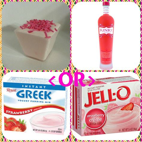 Kinky Strawberry Pudding Shots  1 small Pkg.strawberry instant pudding ¾ Cup Milk 3/4 Cup Kinky Liqueur 8oz tub Cool Whip  Directions 1. Whisk together the milk, liquor, and instant pudding mix in a bowl until combined. 2. Add cool whip a little at a time with whisk. 3.Spoon the pudding mixture into shot glasses, disposable shot cups or 1 or 2 ounce cups with lids. Place in freezer for at least 2 hours