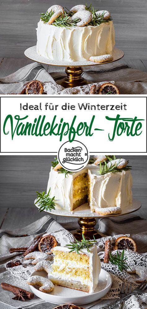 Wer eine leckere Torte für Weihnachten und die Winterzeit im allgemeinen sucht, sollte sich diese Vanillekipferl-Torte mal genauer ansehen! Die Weihnachtstorte ist ein echter Hingucker und köstlicher Gaumenschmaus zugleich. Durch ihre vielen Schichten schindet die Vanillekipferl-Sahne-Torte garantiert richtig Eindruck.  #weihnachtstorte #vanillekipferl #winter #backenmachtglücklich