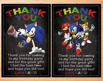 Sonic Thank You Card Birthday Thank You Card Sonic