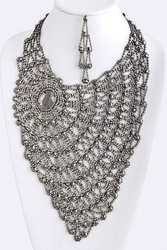 Black Diamond Crystal Lace Statement Necklace Awesome Selection of Chic Fashion Jewelry Emma Stine Limited