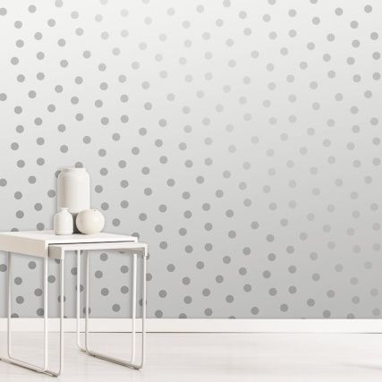 Starlight Spots Wallpaper Silver Diy Wallpaper B M Spotted Wallpaper Metallic Wallpaper Contemporary Wallpaper Designs