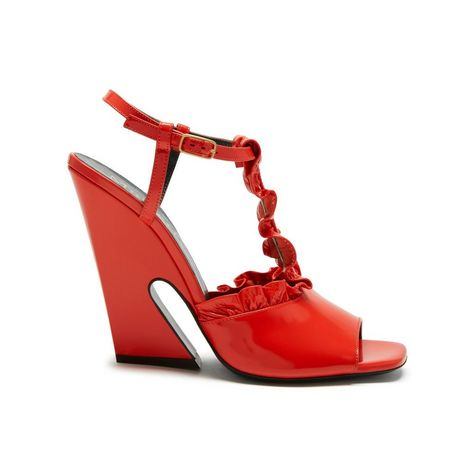Shop the T Bar Sandal in Coral Red Glossy Leather at