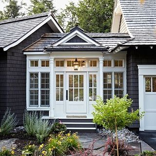 A Breezeway Detailed To Perfection Design Interiors Architecture Architecturedesign Interi Cottage House Designs Cottage Exterior Garage Door Design