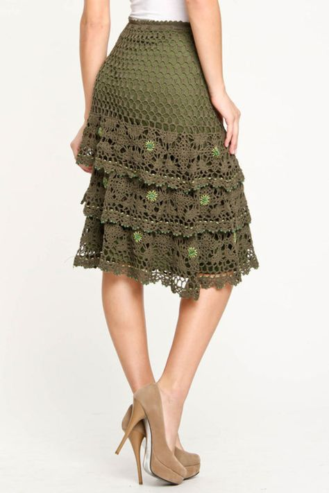 Ariella Tiered Crochet Beaded Skirt In Olive - Beyond the Rack