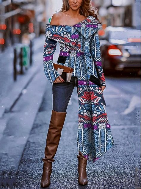 Sexy Fashion Strapless Print Long Sleeve Blouse