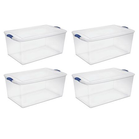 Sterilite 105 Qt Latch Box Stadium Blue Set Of 4 Walmart Com Plastic Box Storage Large Storage Containers Sterilite