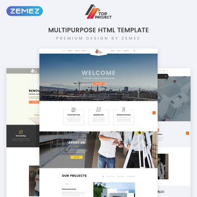 Construction And Renovation Website Template Templatemonster Website Template Renovation Website Portfolio Web Design