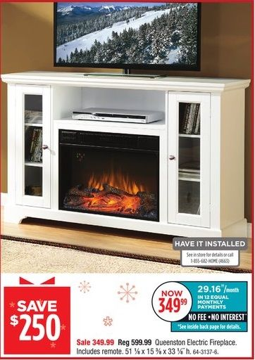 MasterFlame Queenston Electric Fireplace on sale for $349.99 ...