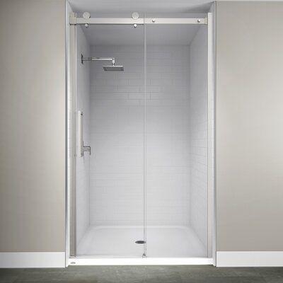 Jacuzzi 48 X 79 Single Sliding Semi Frameless Shower Door In