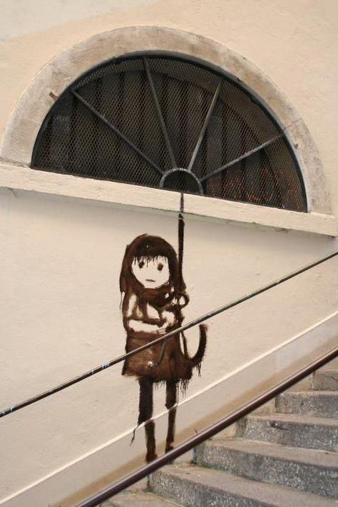Street Art Pentes de la Croix Rousse Lyon - La Croix - Ideas of La Croix #LaCroix -  Street Art Pentes de la Croix Rousse Lyon
