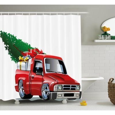 The Holiday Aisle Pickup Truck Single Shower Curtain Christmas