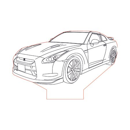 Nissan Gtr R35 Base 3d Illusion Lamp Plan Vector File For Laser And Cnc 3bee Studio Nissan Gtr Nissan Gtr R35 Gtr R35