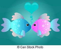 Cartoon Kissing Fish - Two cartoon fish kissing in an...