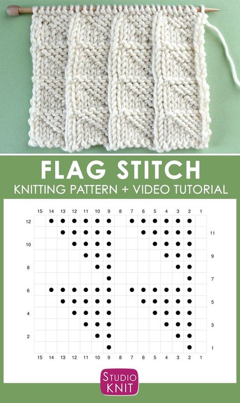 Learn How to Knit the FLAG Stitch with Free Pattern + Video - #flag #Free #Knit #Learn #Pattern #Stitch #Video